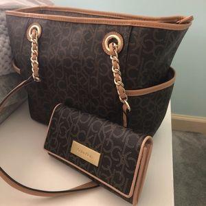Calvin Klein Leather Handbag & Wallet Duo